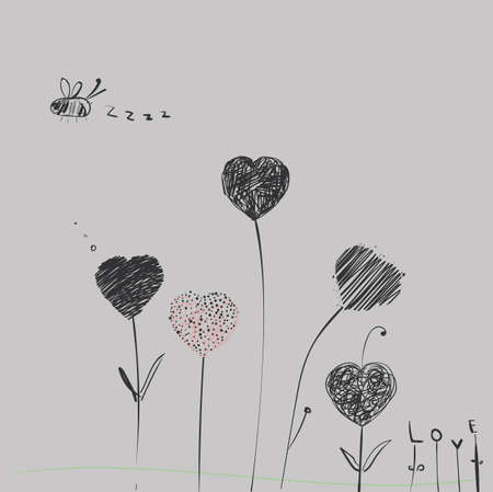 stalk: Heart-flowers on stalks. The dashed hand-drawing.