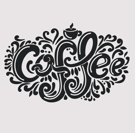 Coffee inscription. Hand drawing, an individual font, twisted letters. Lettering. Pattern Frame. Light background, black font