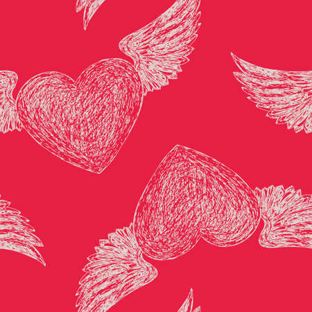Seamless pattern with red winged hearts Illustration
