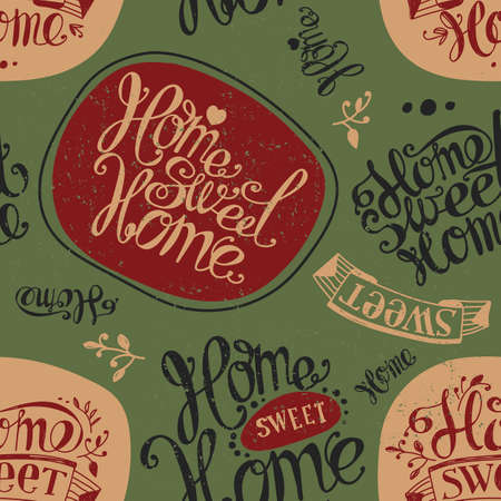 homely: Seamless Home sweet home. Labels and design elements. Lettering. Swamp green, brown