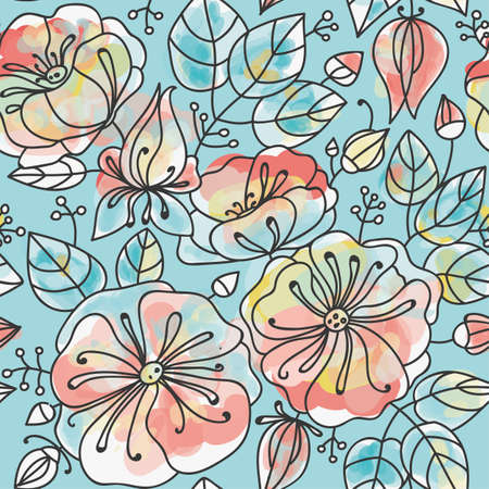 anemones: Floral seamless pattern - anemones. Stylized watercolor technique.
