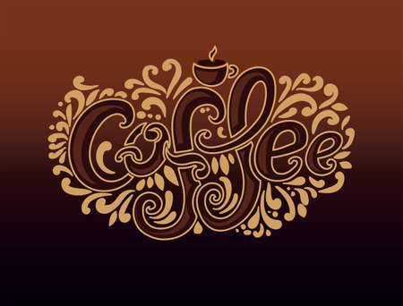 Coffee inscription. Hand drawing, an individual font, twisted letters. Lettering. Pattern Frame. Brown background, beige outline. Illustration