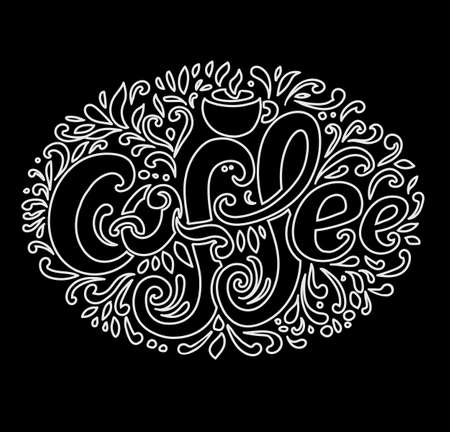 Coffee inscription. Hand drawing, an individual font, twisted letters. Lettering. Pattern Frame. Dark background, light contour pattern