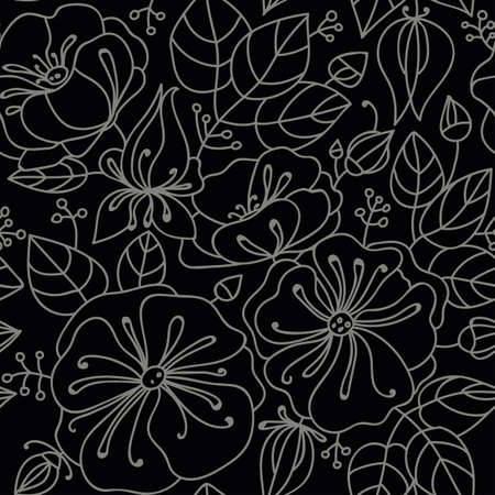 inflorescence: Floral seamless pattern - anemones. Contour drawing. Dark background, light lines. Illustration