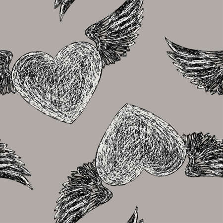 avocation: Seamless pattern with winged hearts