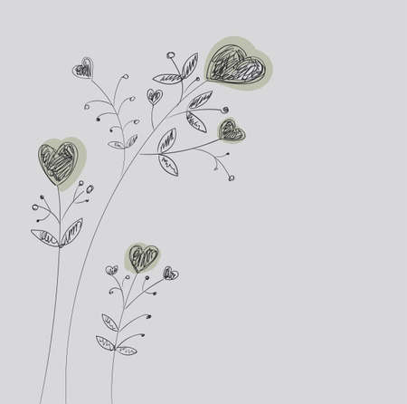stalks: Heart-flowers on stalks. The dashed hand-drawing.