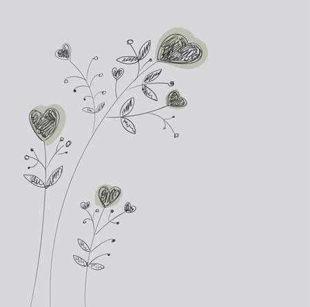 Serca kwiaty na szypułkach. Przerywana ręcznie rysunek. Ilustracje wektorowe