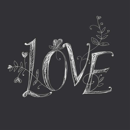 Hand drawing lettering - love. Elements of plant patterns.