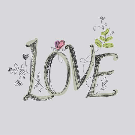 graphically: Hand drawing lettering - love. Elements of plant patterns.