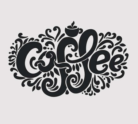 Coffee inscription. Hand drawing, an individual font, twisted letters. Lettering. Pattern Frame. Black text on a light background
