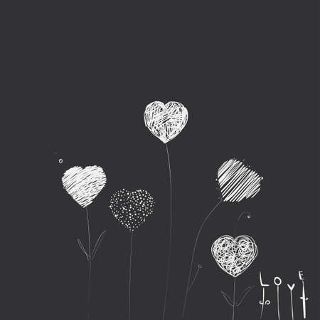 dashes: Heart-flowers on stalks. The dashed hand-drawing. Dark background. Illustration