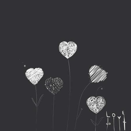 stalks: Heart-flowers on stalks. The dashed hand-drawing. Dark background. Illustration