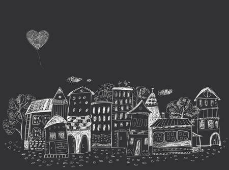 The old fairy-tale town. Contour hand Drawing. Dark background, light lines.