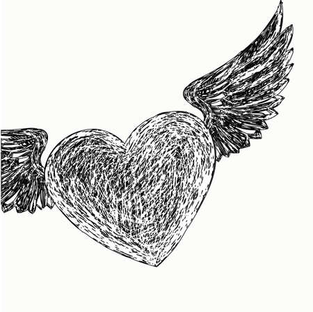 avocation: Winged heart. Hand drawing.