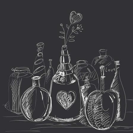 Skład butelek, karafek, fiolek z sercem kwiatowym.