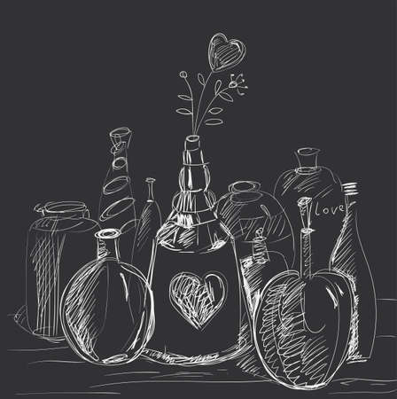 dashes: The composition of the bottles, decanters, phials with flower-heart. Illustration