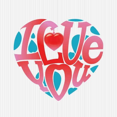 Design lettering I love you. Hand drawing, an individual font. The composition of the letters in the shape of a heart.  Pink and blue. Illustration