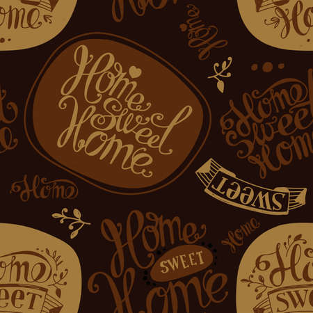 homely: Seamless Home sweet home. Labels and design elements. Lettering. Brown, ocher
