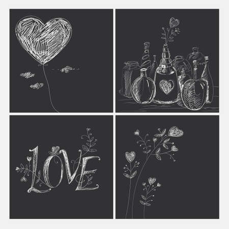 graphically: A set of pictures on the theme of love. Hand drawing.
