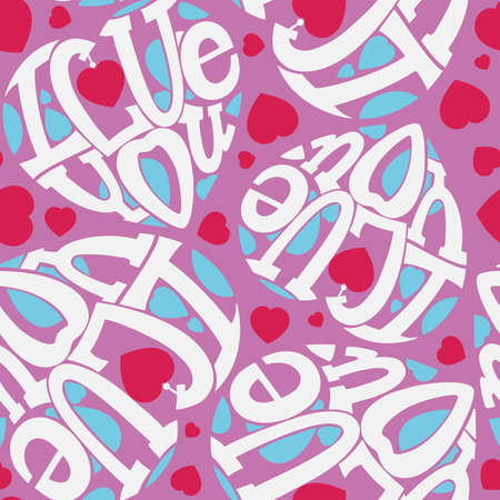 intimate: Seamless I love you. The composition of the letters in the shape of a heart. Pink and white.
