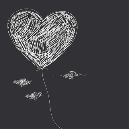 dashes: Balloon - heart. Hand drawing.