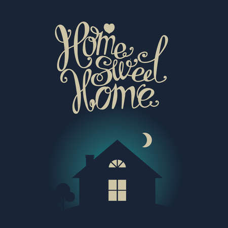 windows home: Lettering Home sweet home. Dark moonlit night. Composition with a house with glowing windows and twisted inscription. Illustration