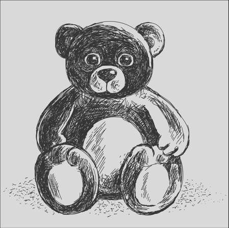 graphically: Teddy Bear - dashed graphically hand-drawing.