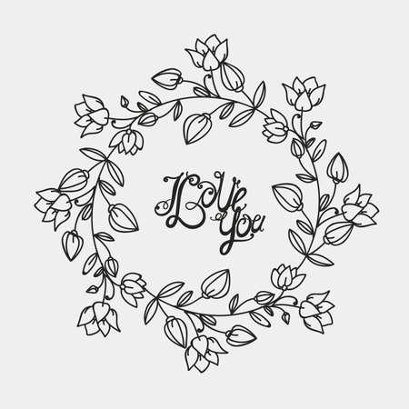 contours: Decorative contour frame - flower, hand drawing.