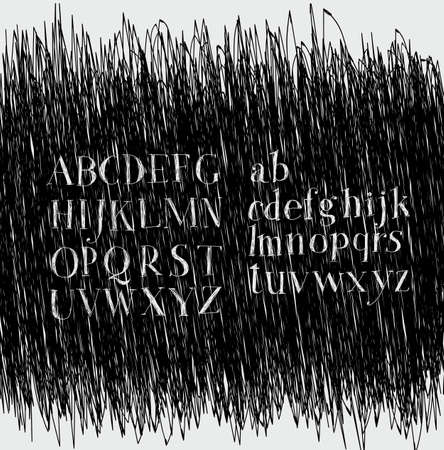 careless: Careless style hand-drawing. Hatching. Hand drawing alphabet. Lettering. Dark background, bright letters Illustration