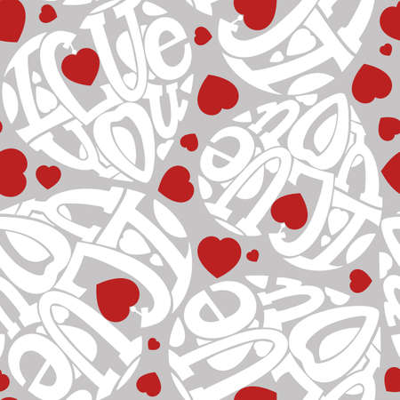 intimate: Seamless I love you. The composition of the letters in the shape of a heart. White, red on gray. Illustration
