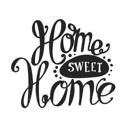 home design: Lettering Home sweet home. Hand drawing. Twisted sign, design elements.
