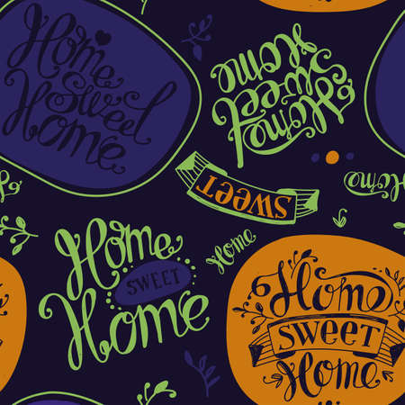homely: Seamless Home sweet home. Labels and design elements. Lettering. Purple, yellow, green