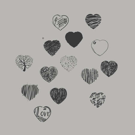 dashes: Set of painted hearts. Black and white graphic image.