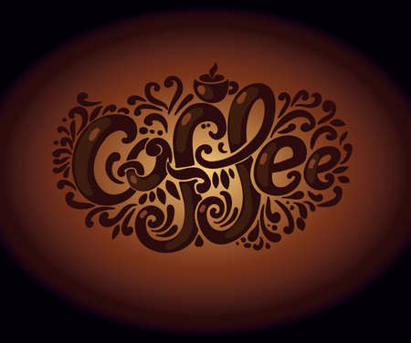 Coffee inscription. Hand drawing, an individual font, twisted letters. Lettering. Pattern Frame. composition on a dark brown background