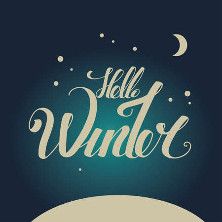 winter night: Lettering Hello Winter. hand drawing font. Twisted inscription. Individual letters. Winter night Illustration