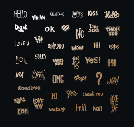 acronyms: Acronyms and Abbreviations for communication. The most commonly used words and phrases. Hand drawing. Gold symbols on a dark background Illustration