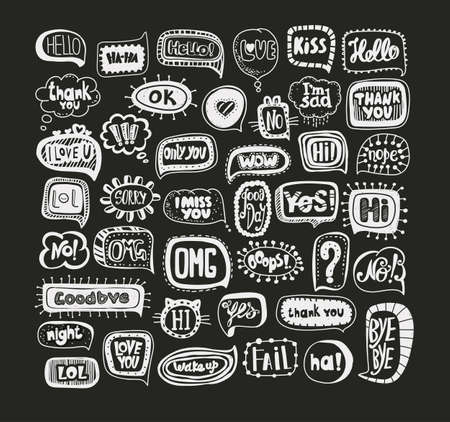 acronyms: Acronyms and Abbreviations in the speech bubbles. The most commonly used words and phrases. Hand drawing.