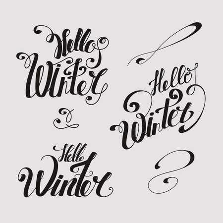 "Set lettering ""Hello Winter"". Hand tekentype. Gedraaide inschrijving. Individuele letters. Hoofdletters. Retro stijl. Lichte achtergrond, donkere letters"