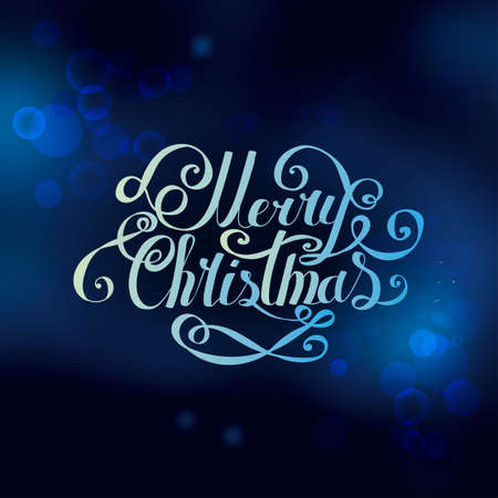 Lettering Merry Christmas and Happy New Year. Twisted font on blurred festive background. Bokeh effect. Hand drawing. Congratulations on Christmas and New Year. Blue.