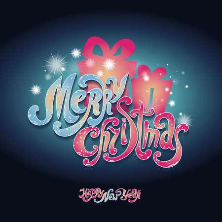 Lettering Merry Christmas. Handwriting. Design font. Christmas presents. Shine. Dark blue Illustration