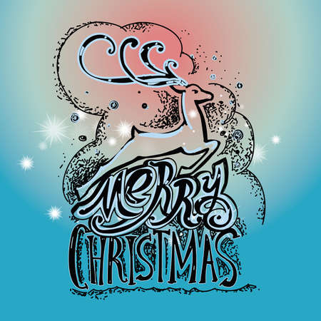 lettering merry christmas christmas illustration composition with reindeer cursive hand drawing blue