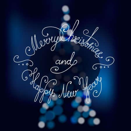 Lettering Merry Christmas. Handwriting. Design font. Christmas tree. Bokeh effect. Blue background.