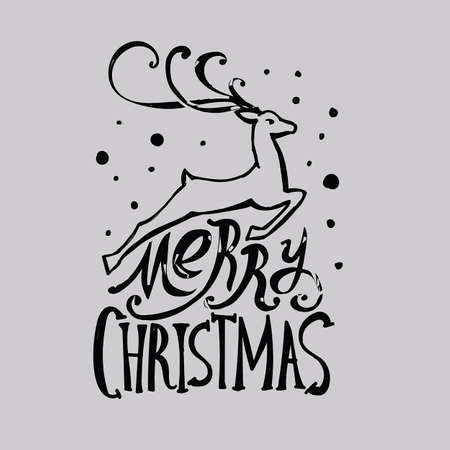 lettering merry christmas christmas illustration composition with reindeer cursive hand drawing dark pattern light background