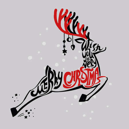 lettering merry christmas christmas illustration composition with reindeer cursive hand drawing light background red