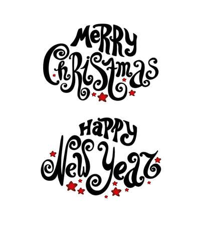 """letras negras: Letras de """"Feliz Navidad"""" y """"Feliz Año Nuevo"""". estilo vintage, letras retorcidas. Dibujo a mano. fuente individual. felicitaciones Feliz Navidad y Feliz Año Nuevo. fondo claro, las estrellas rojas, letras negras Vectores"""