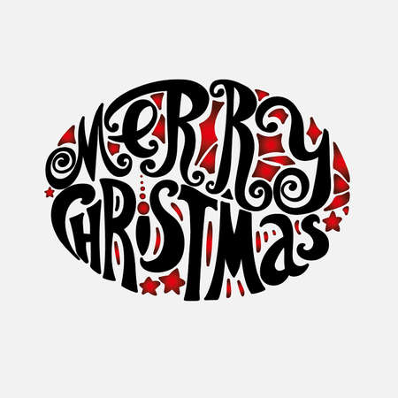 """letras negras: Letras de """"Feliz Navidad"""". composición Oval. estilo vintage, letras retorcidas. Dibujo a mano. fuente individual. Felicitación a las vacaciones de Navidad. fondo claro, letras negras, rojas elementos de diseño Vectores"""