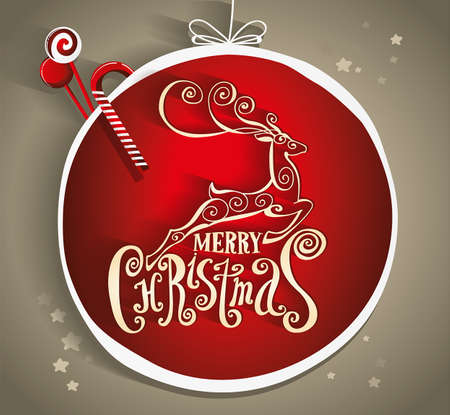 christmas decorations: Lettering Merry Christmas. Composition with reindeer. Twisted Individual font. Hand drawing. Congratulations on Christmas. Gold and red. Christmas decorations