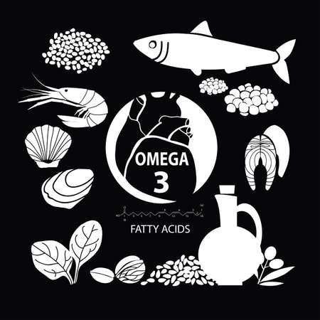Foods with the highest content of Omega-3. Healthy heart and cardiovascular system. Healthy lifestyle. Balanced diet. Basics of healthy nutrition. Dark background, light pattern Illustration