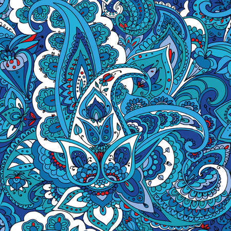 duotone: Seamless pattern of Paisley based on traditional oriental patterns. Hand drawing. Vintage style. Blue Illustration