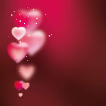 Background with hearts for Valentines Day. Template for greeting card, declaration of love, congratulations on the wedding day. Dark pink. Blurred heart